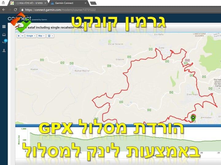 הורדת מסלול GPX מאתר גרמין קונקט באמצעות לינק למסלול course
